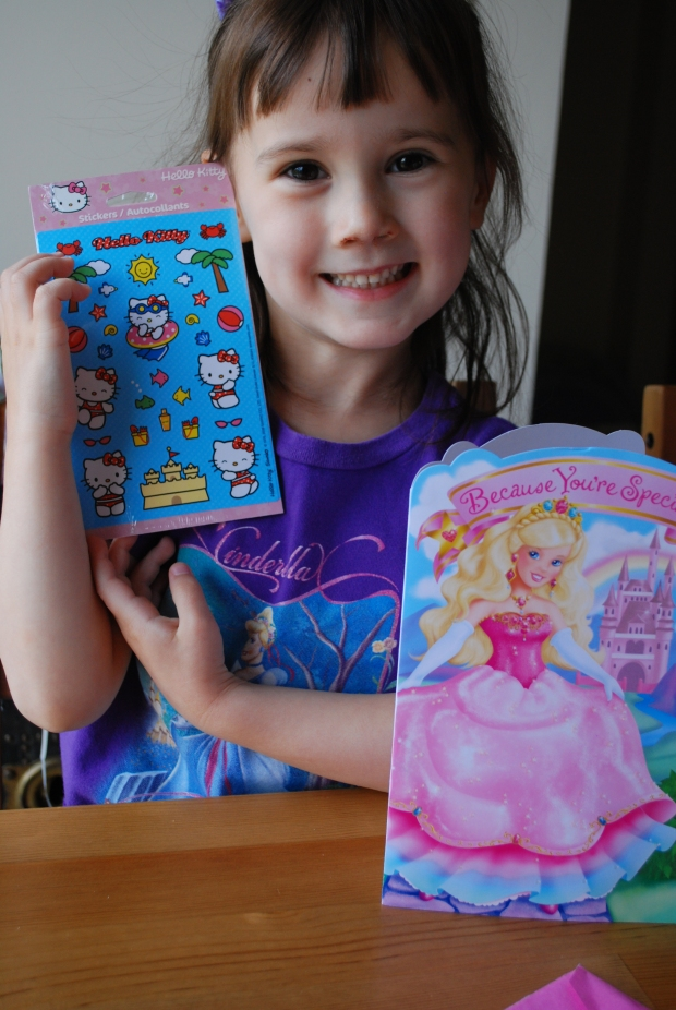 Princess card from Aunt Jennifer, Uncle John & Family from Nevada - and Hello Kitty stickers!