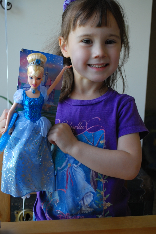 Our new Cinderella Princess from Gma Bonnie & Gpa Bill. (Pony was opened first, she was too quick for me and the camera, lol.)
